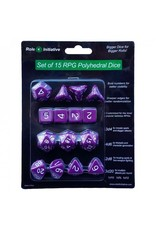 Dice Polyhedral Dice: Opaque Dark Purple with White Numbers - Set of 15