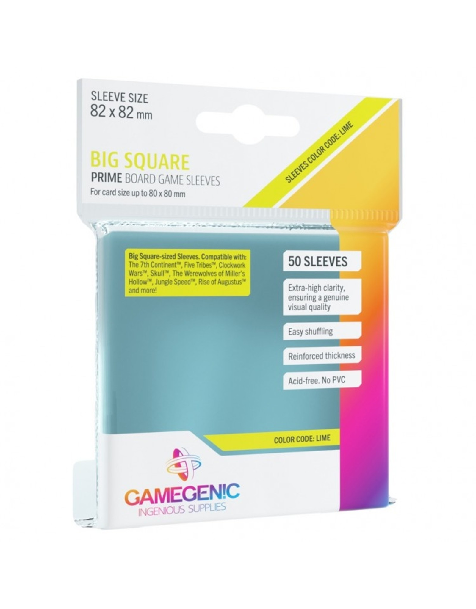 GameGenic Deck Protector: Prime: Big Square Lime (50)