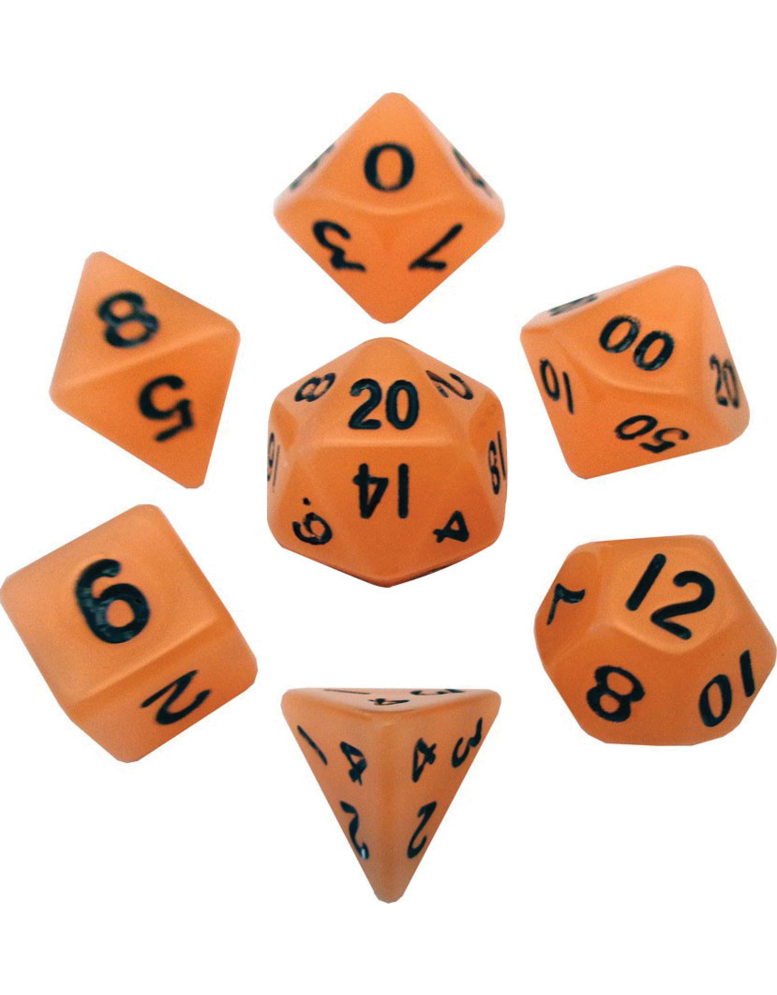 Metallic Dice Games Mini Polyhedral Dice Set: Glow Orange with Black Numbers