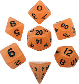 Metallic Dice Games Mini Polyhedral Dice Set: Glow Orange with Black Numbers