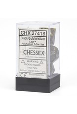 Chessex 7-Set Polyhedral Leaf Black Gold /silver