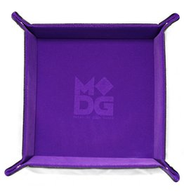 Metallic Dice Games Velvet Folding Dice Tray with Leather Backing 10in x 10in Purple