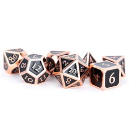Metallic Dice Games 16mm Polyhedral Dice Set Antique Copper with Black Enamel
