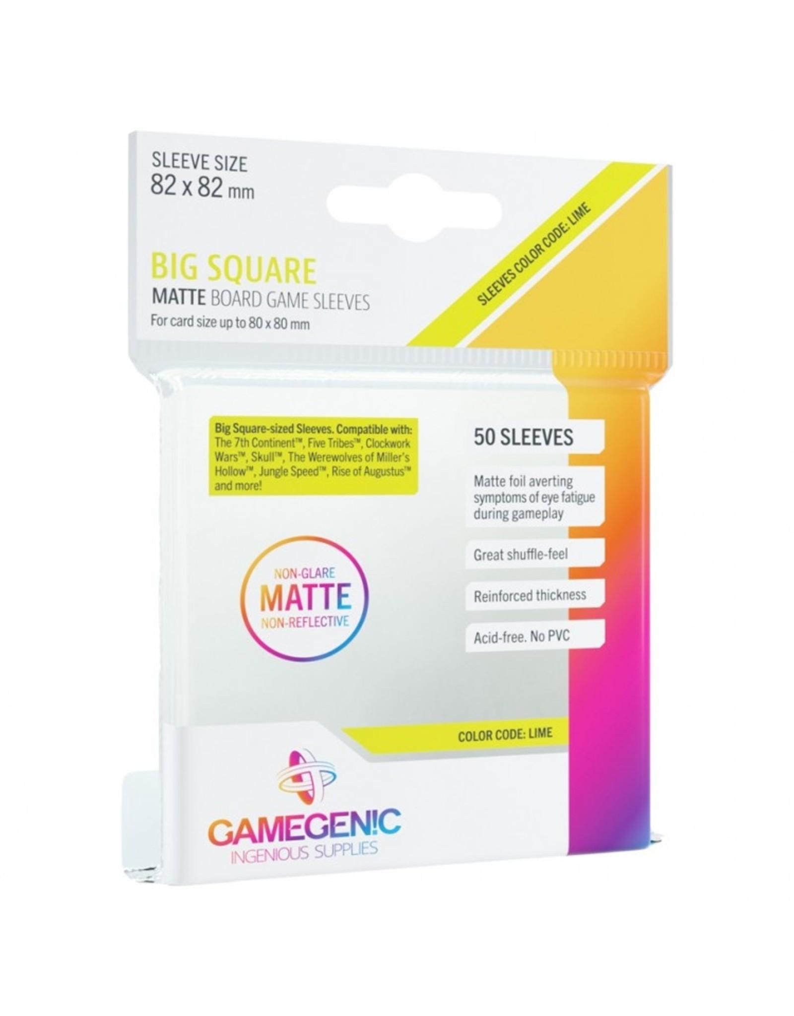 GameGenic Deck Protector: Matte: Big Square Lime (50)