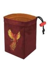 Red King Phoenix Rising Embroidered Dice Bag