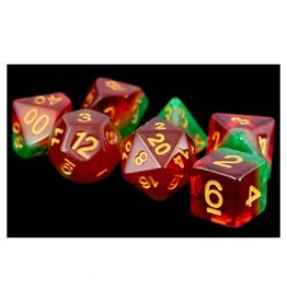 Metallic Dice Games 7-Set: 16mm: Fruit Watermelon/gd
