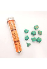 Chessex 7-Set Polyhedral Cube Lab Dice Heavy Turquoise and Orange
