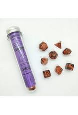Chessex 7-Set Polyhedral Cube Lab Dice Nebula Copper Matrix Orange