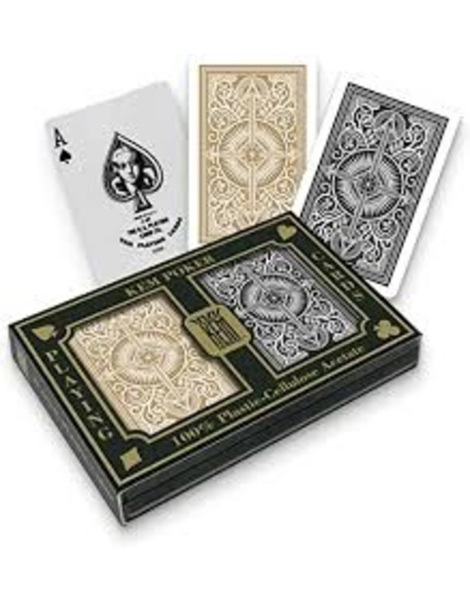 US Playing Card Co. Kem, Playing Cards, Plastic Wide - Arrow Black Arrow Gold