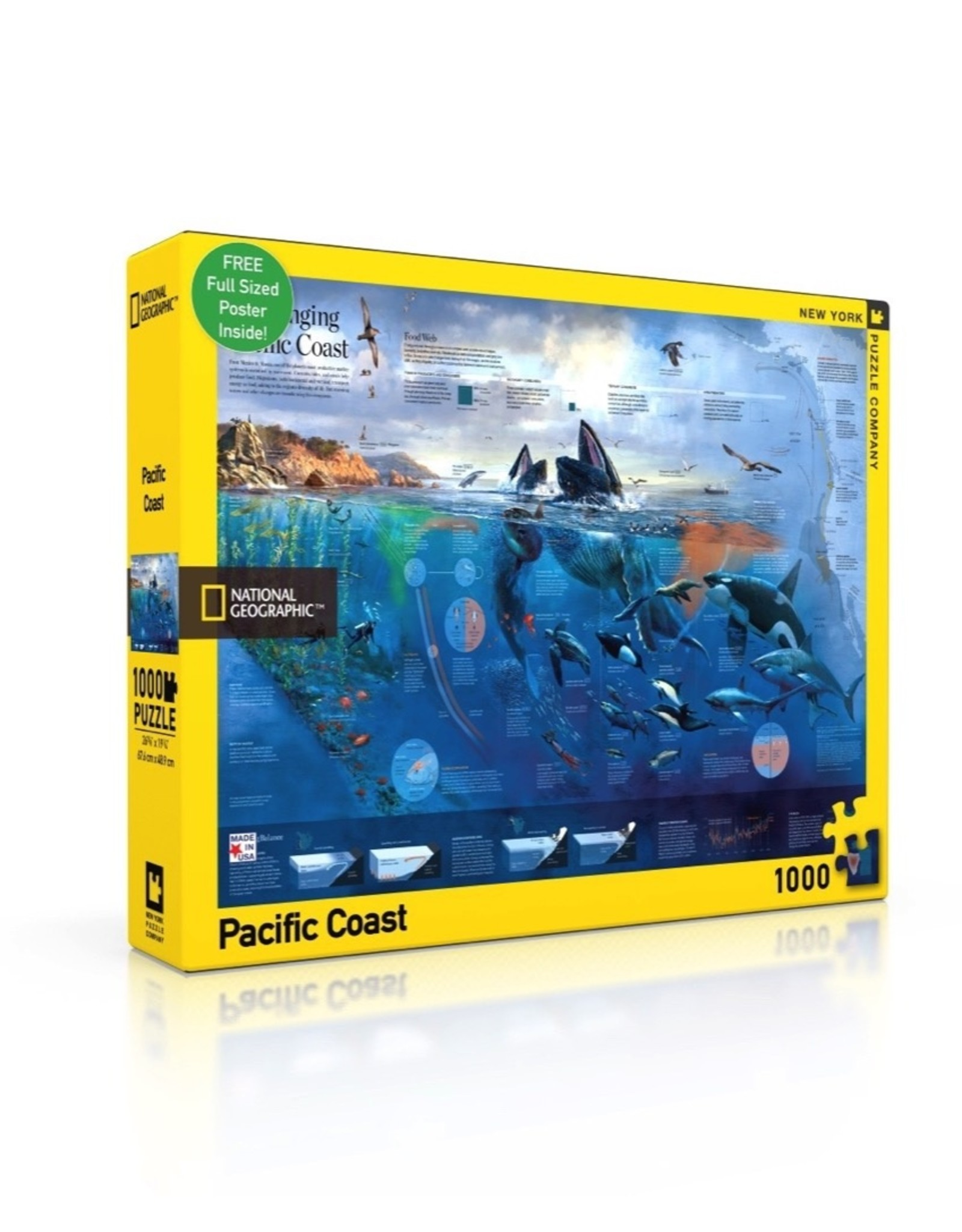 New York Puzzle Company Pacific Coast (1000 with Poster)