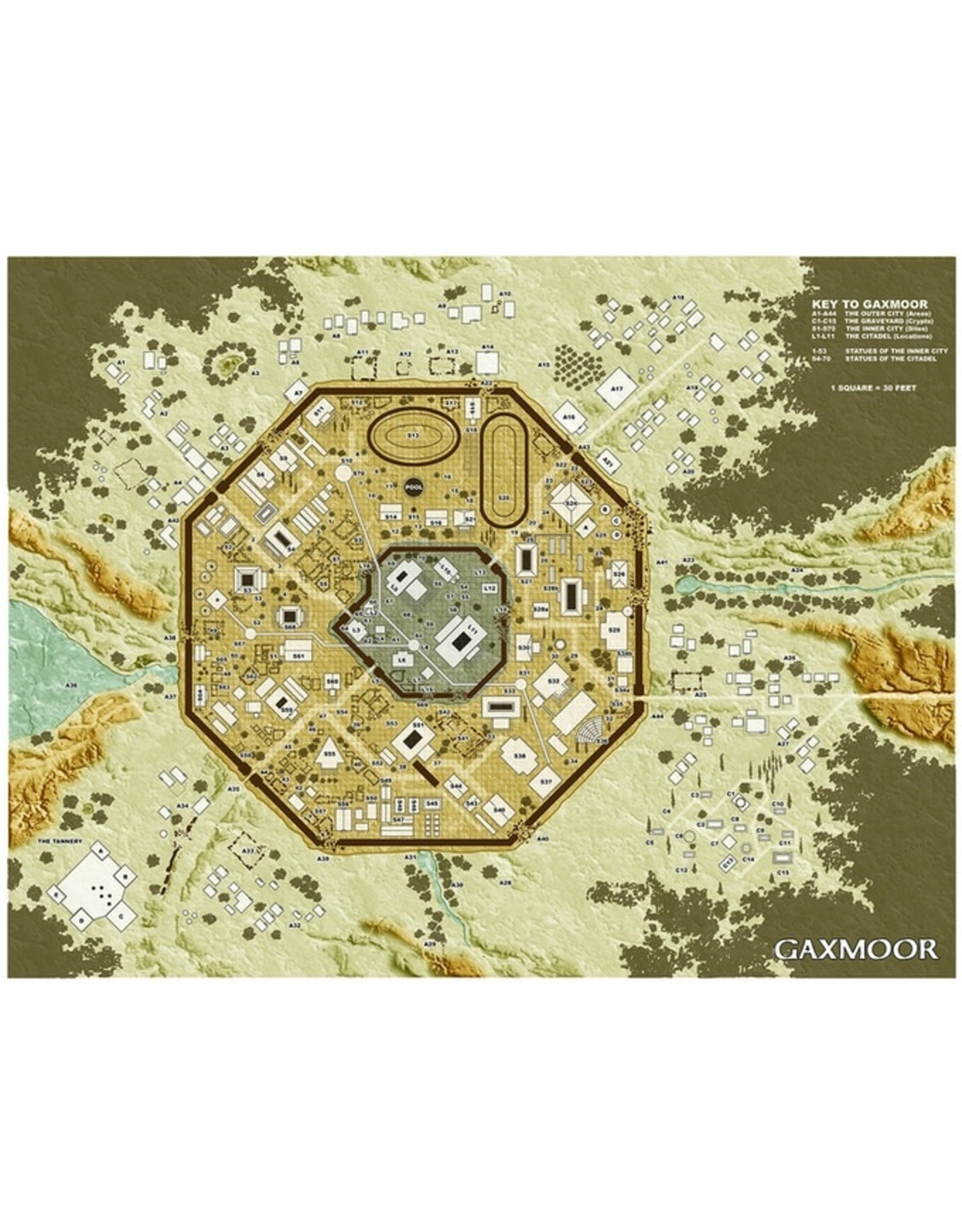 Troll Lord Games The Lost City of Gaxmoor 5E City Map (Pre Order)