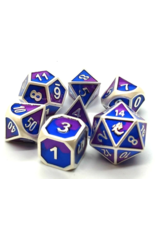 Old School Dice Old School 7 Piece DnD RPG Metal Dice Set: Dragon Forged - Platinum Purple & Blue
