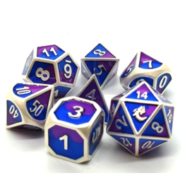 Old School Dice Old School 7 Piece DnD RPG Metal Dice Set: Dragon Forged - Platinum Purple & Blue