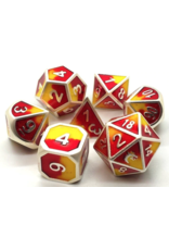 Old School Dice Old School 7 Piece DnD RPG Metal Dice Set: Dragon Forged - Platinum Red & Yellow
