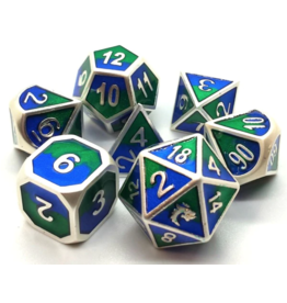 Old School Dice Old School 7 Piece DnD RPG Metal Dice Set: Dragon Forged - Platinum Blue & Green