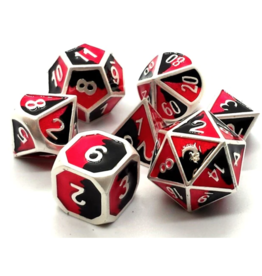 Old School Dice Old School 7 Piece DnD RPG Metal Dice Set: Dragon Forged - Platinum Black & Red