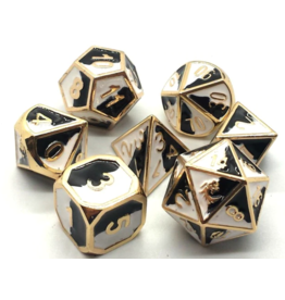 Old School Dice Old School 7 Piece DnD RPG Metal Dice Set: Dragon Forged - Black & White w/ Gold