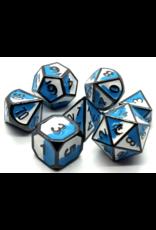 Old School Dice Old School 7 Piece DnD RPG Metal Dice Set: Dragon Forged - Blue & White w/ Black Nickel