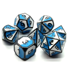 Old School Dice Old School 7 Piece DnD RPG Metal Dice Set: Dragon Forged - Blue & White w/ Black Nickel