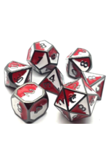 Old School Dice Old School 7 Piece DnD RPG Metal Dice Set: Dragon Forged - Red & White w/ Black Nickel