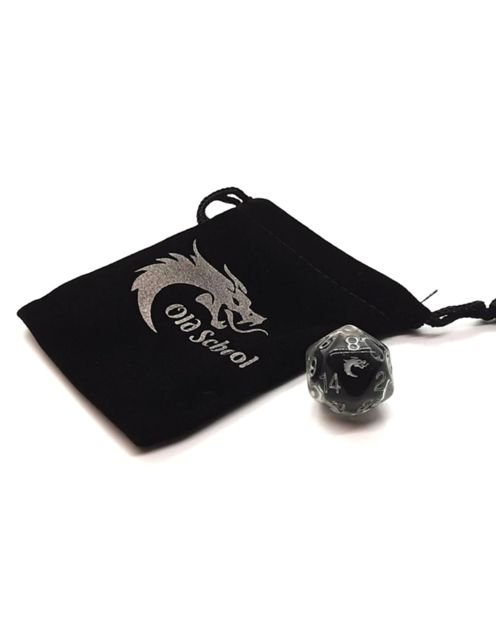 Old School Dice Old School D20 DnD RPG Die: Liquid Infused - Metallic Black