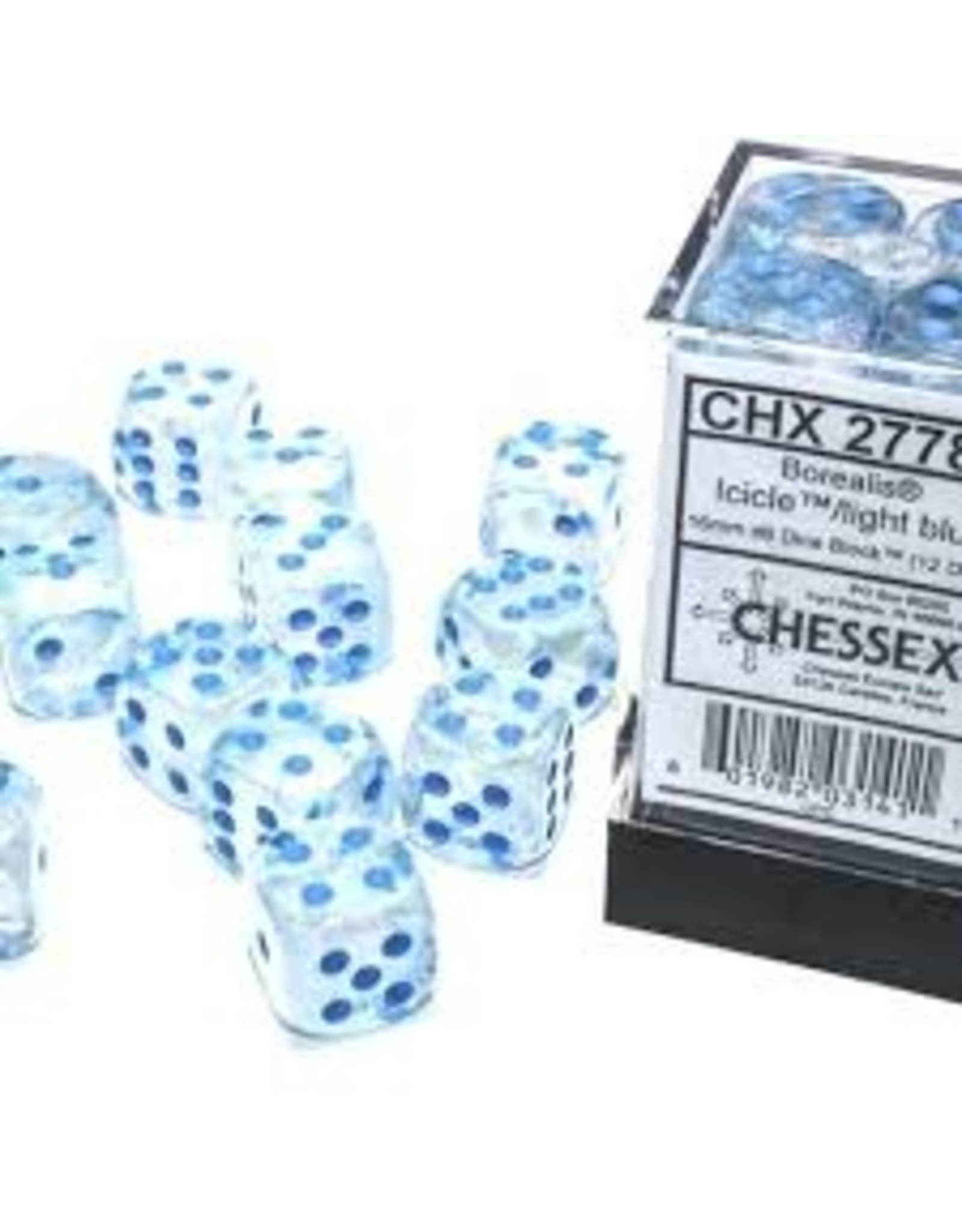 Chessex d6Cube16mm BORLuminary ICICLEltbu (12)