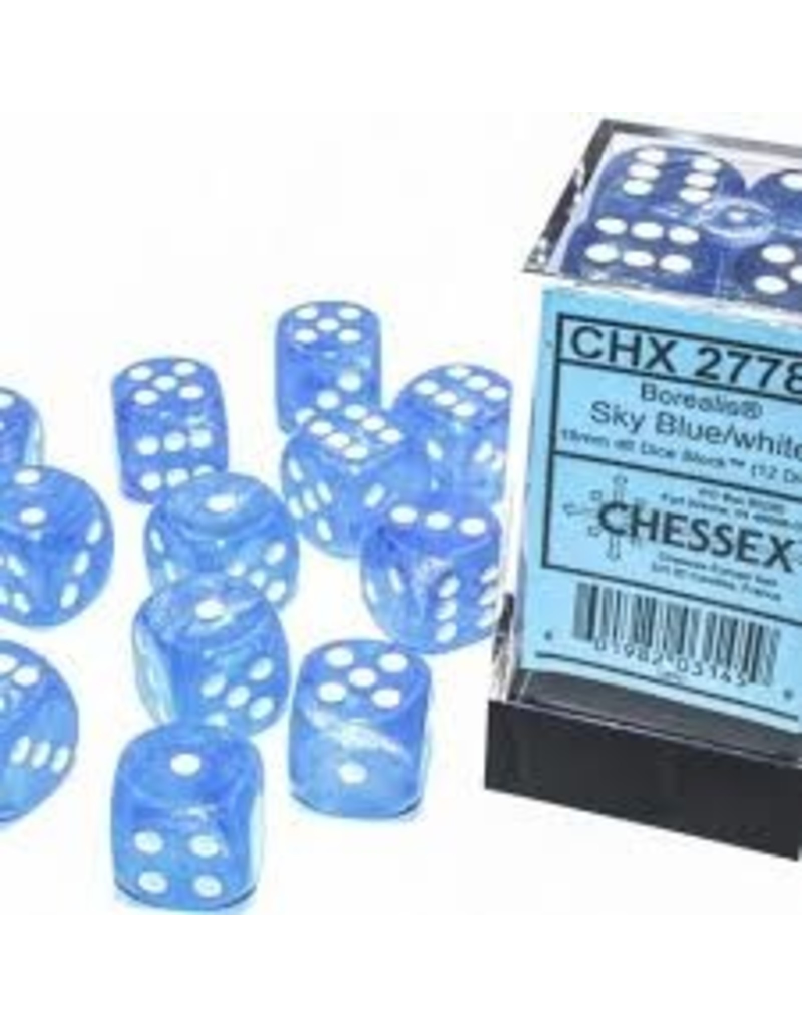 Chessex d6Cube16mm Borealis Luminary SBUwh (12)