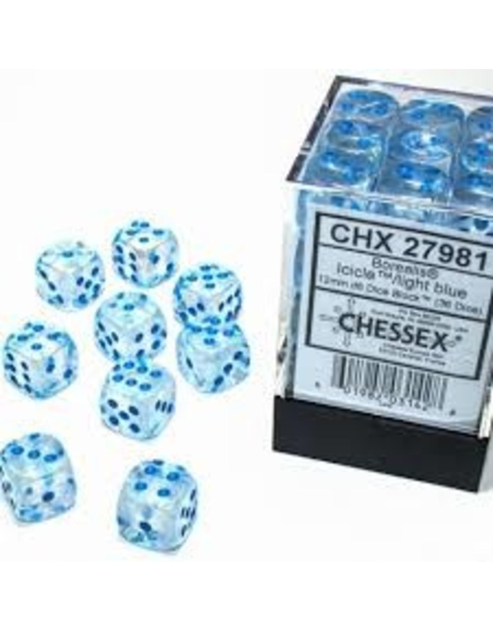 Chessex d6Cube12mm BORLuminary ICICLEltbu(36)