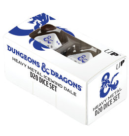 Ultra Pro D&D RPG: Icewind Dale - Heavy Metal - D20 White and Blue Dice Set (2)