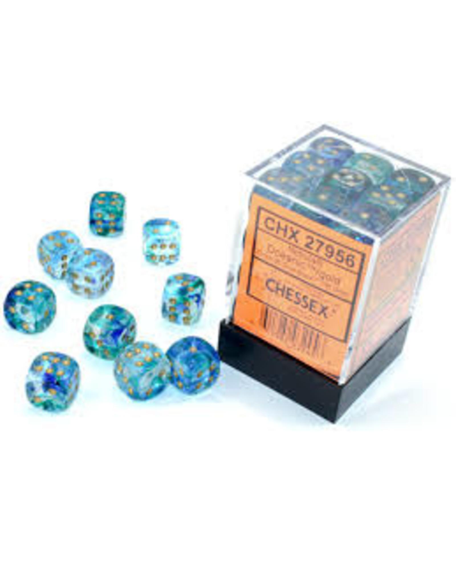 Chessex d6Cube 12mm Luminary NB Oceanic gd (36)