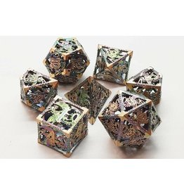 Old School Dice Old School 7 Piece DnD RPG Metal Dice Set: Hollow Dragon Dice - Spectral w/ Gold