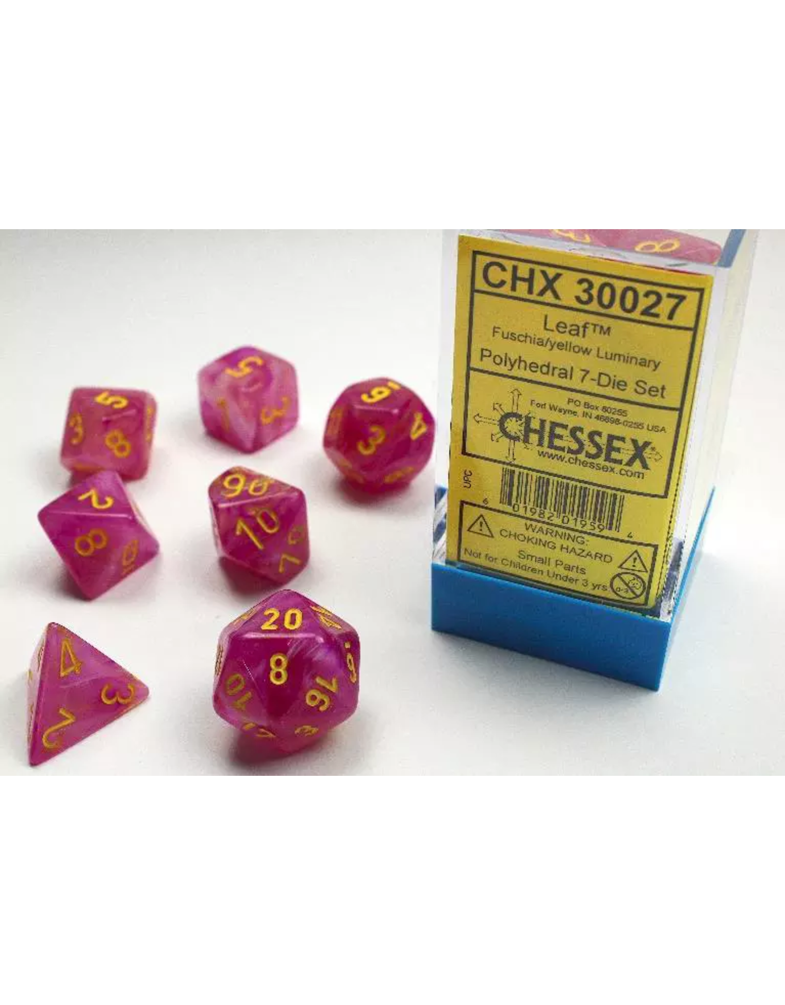 Chessex 7 Die Set - Lab Dice Leaf Fuschia with Yellow