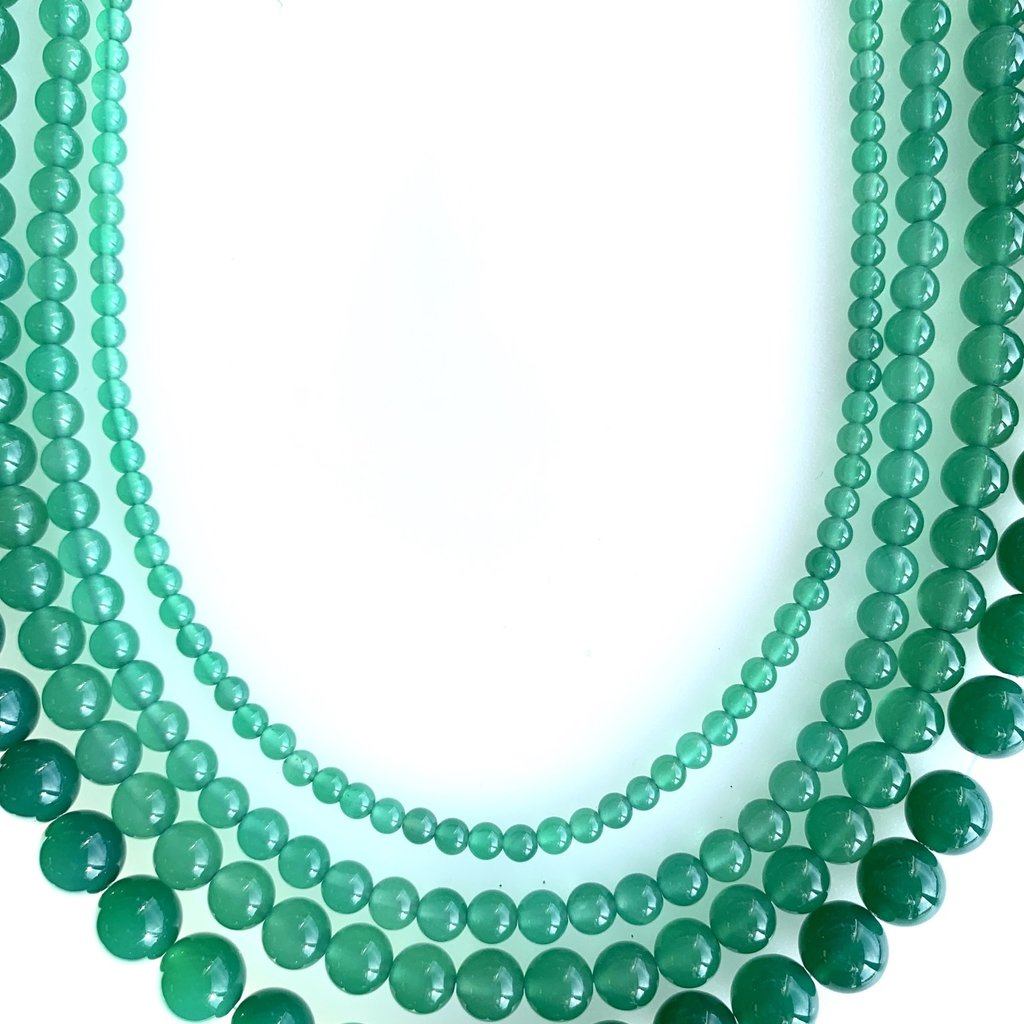 "Bead World Green Agate 16"" Strand"