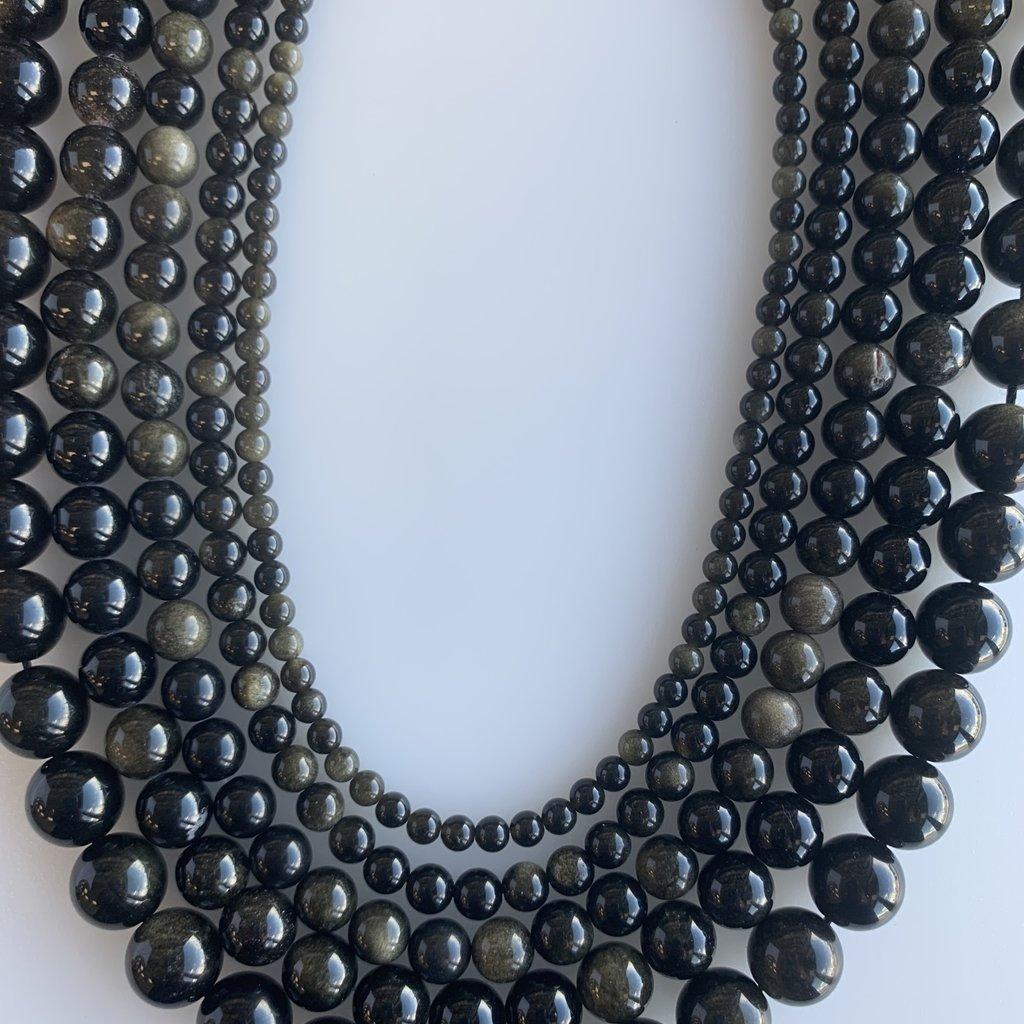 "Bead World Gold Obsidian  16"" Strand"