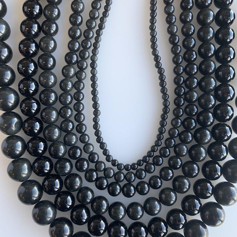"Bead World Obsidian 16"" Strand"