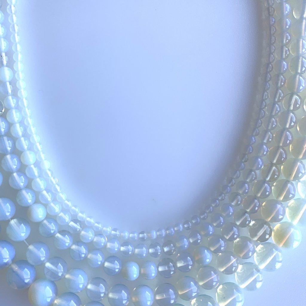 "Bead World White Opalite 16"" Strand"
