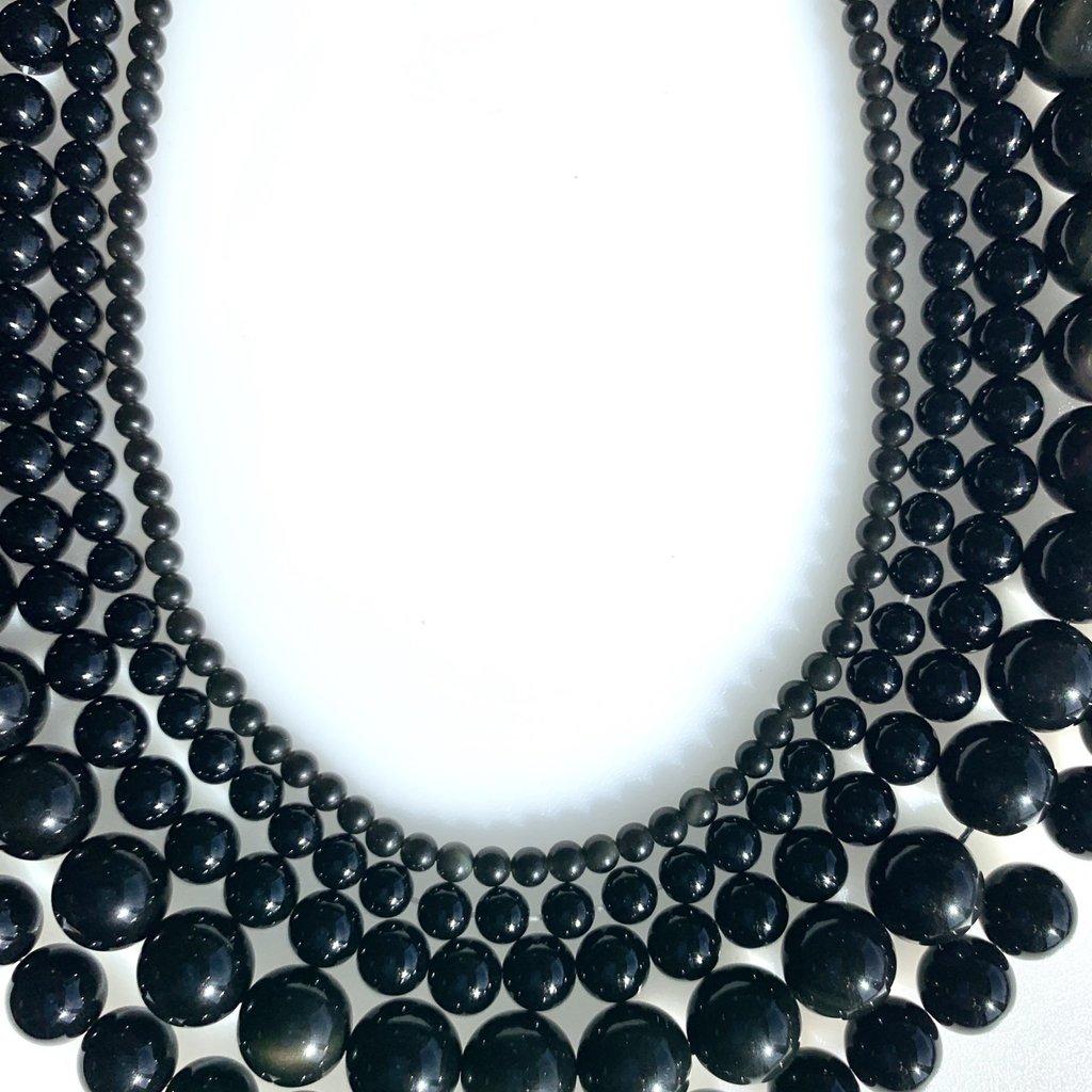 "Bead World Black Agate 16"" Strand"