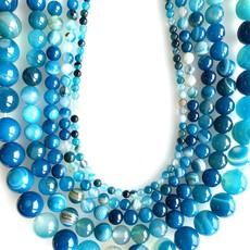 """Bead World Banded Blue Agate 16"""" Strand"""
