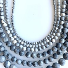 "Bead World Matte Grey Jasper 16"" Strand"