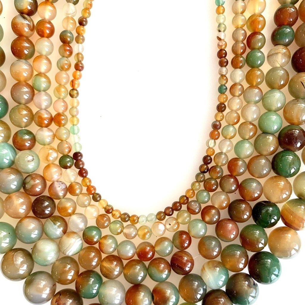 """Bead World Red Green Agate 16"""" Strand"""