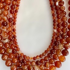 "Bead World Red Orange Sardonix Agate 16"" Strand"