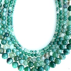 """Bead World Green Banded Agate 16"""" Strand"""