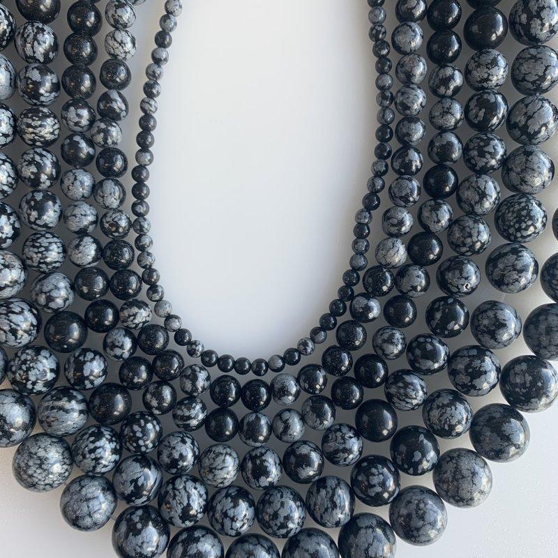 "Bead World Snowflake Obsidian 16"" Strand"