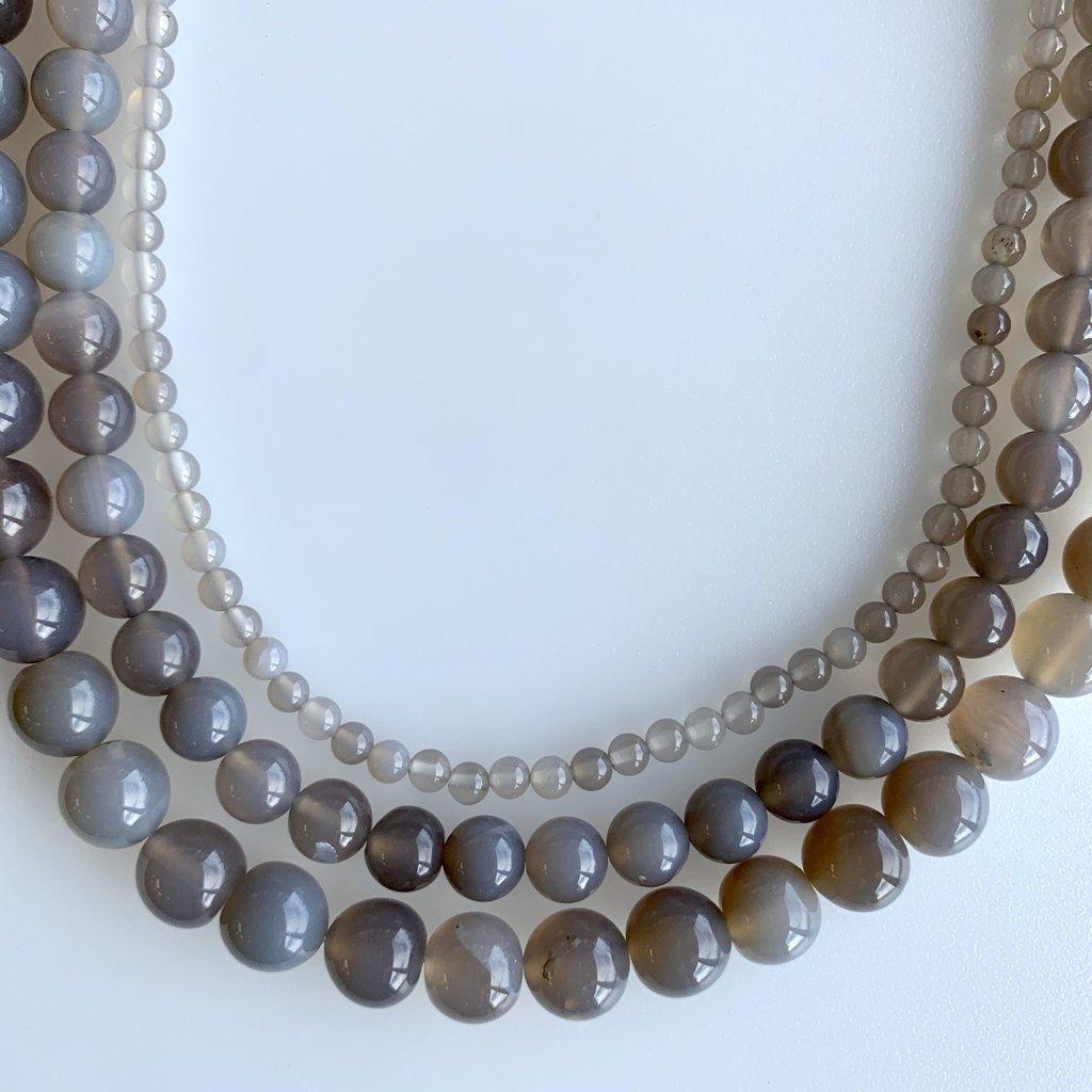 "Bead World Grey Agate16"" Strand"