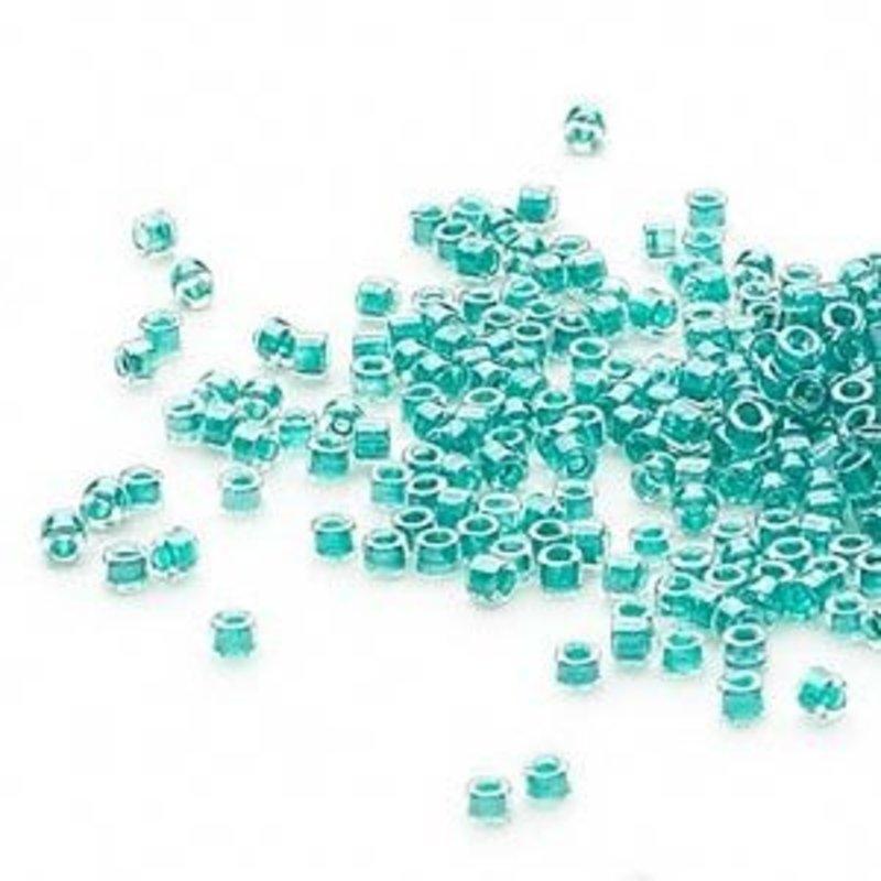 Miyuki Delica #11 Transparent  Color-Lined Dark Turquoise Blue Db0918 7.5 gram vial