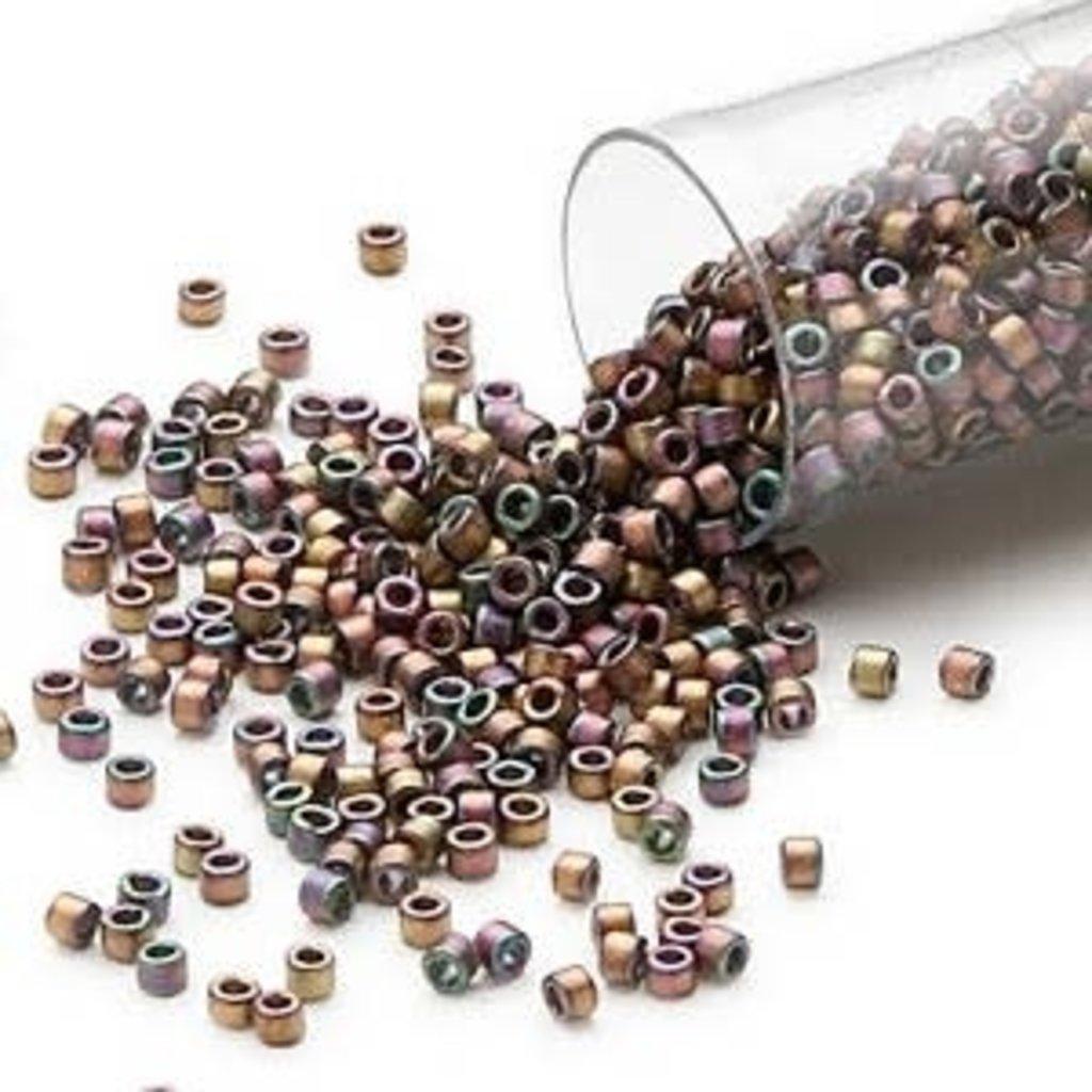 Miyuki Delica #11 Matte Metallic Gold Luster Rainbow Rose Green Db1055 7.5 gram vial