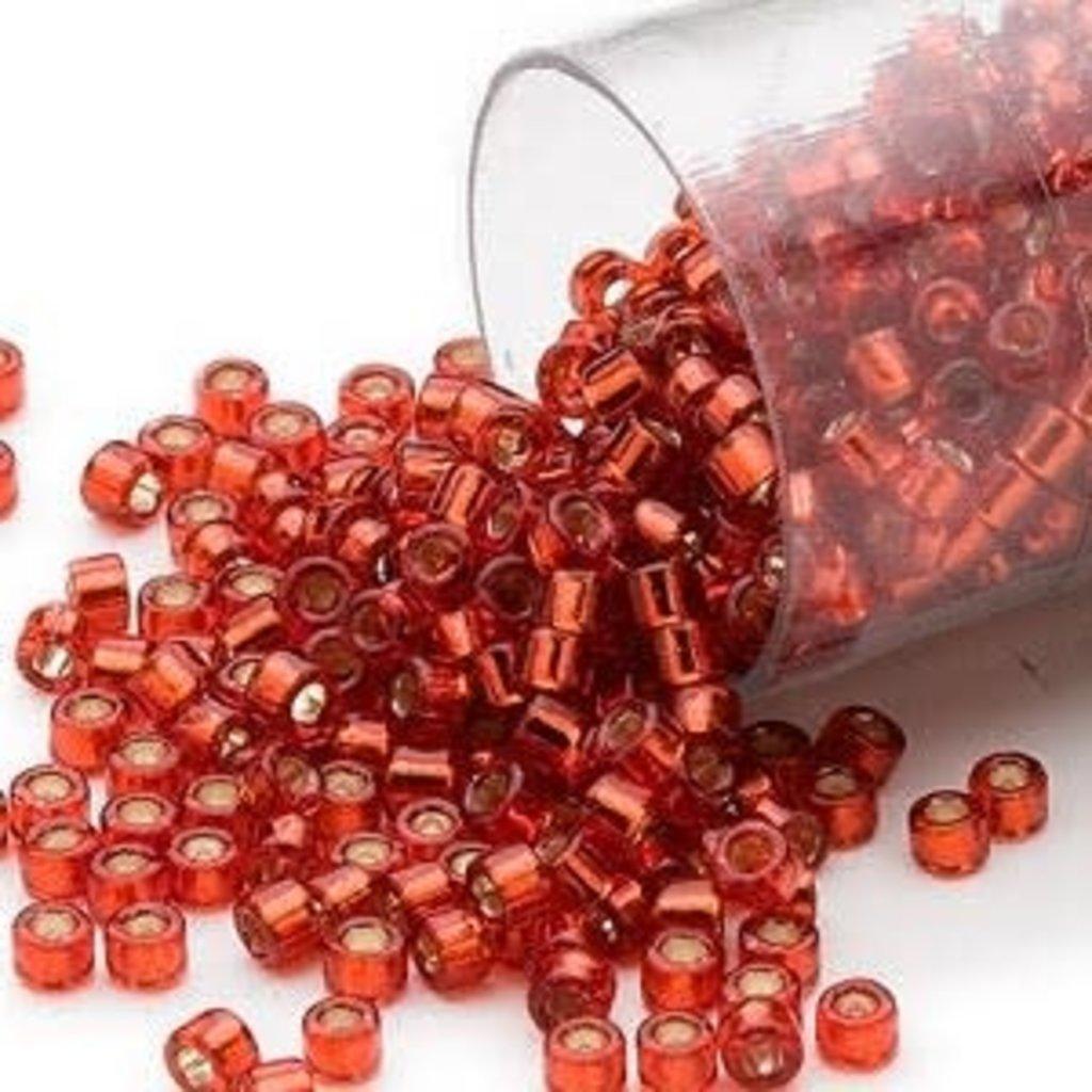 Miyuki Delica  #11 Silver-Lined Dk Orange Db0601 7.5 gram vial