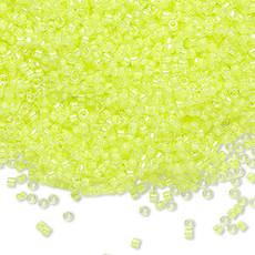 Miyuki Delica #11 Transparent  Color-Lined Luminous Neon Yellow Db1630 7.5 gram vial