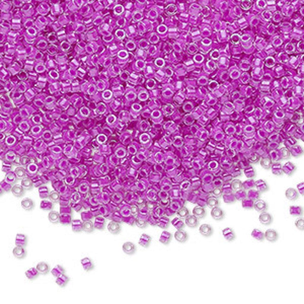 Miyuki Delica #11 Transparent  Color-Lined Luminous Neon Purple Db2038 7.5 gram vial