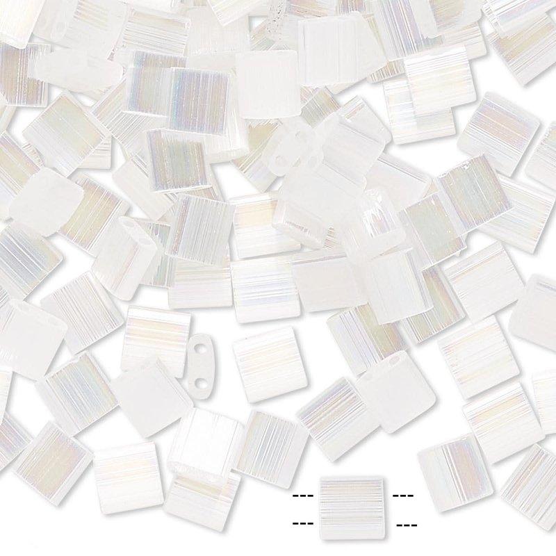 Miyuki Tila Luster Rnbw White Pearl 10Gms A1522